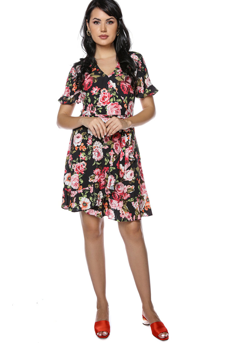 Rochie mini cu imprimeu floral si decolteu in V Miss-One