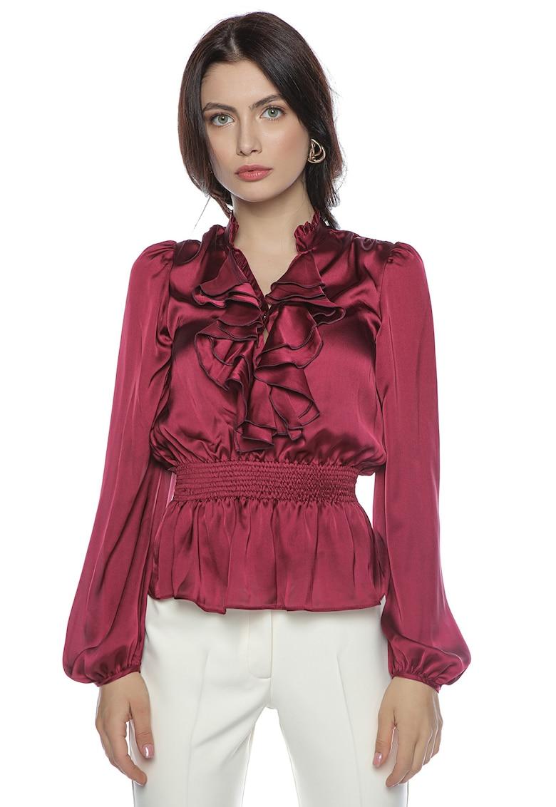 Bluza din satin cu terminatie peplum si volane poza fashiondays