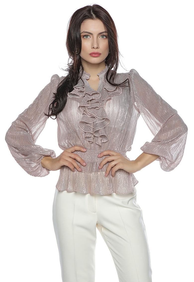 Bluza transparenta cu terminatie peplum si volane