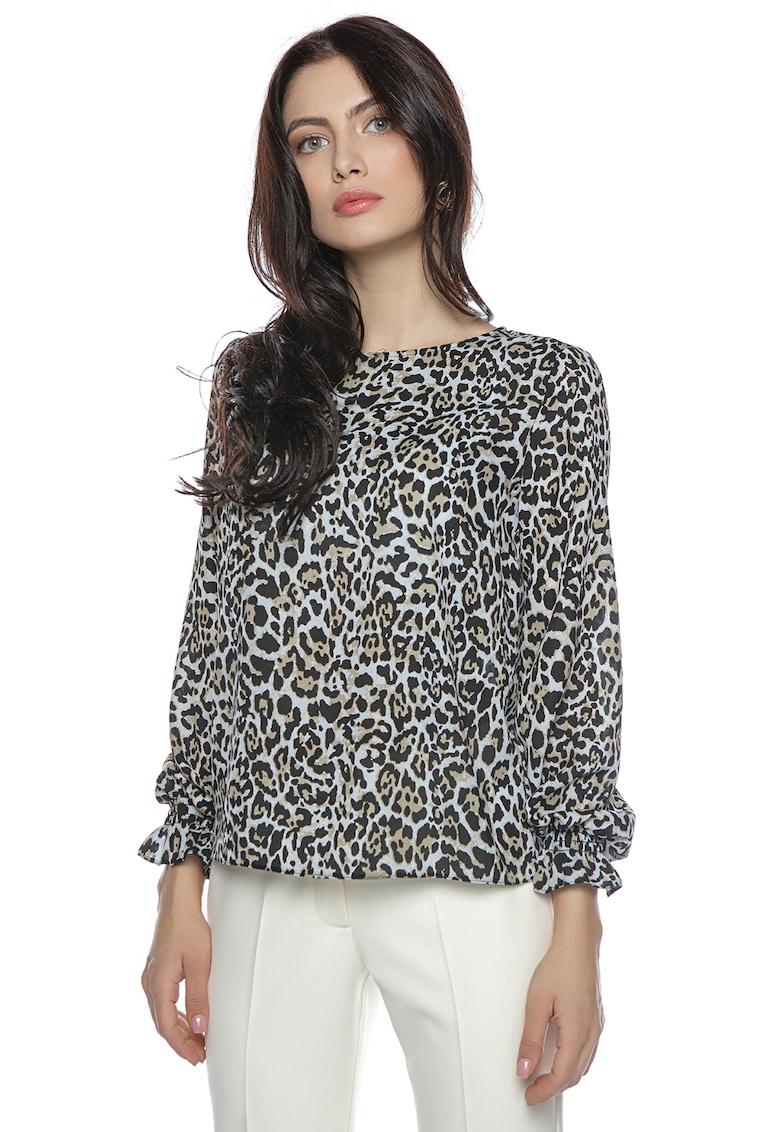 Bluza cu animal print si mansete elastice imagine