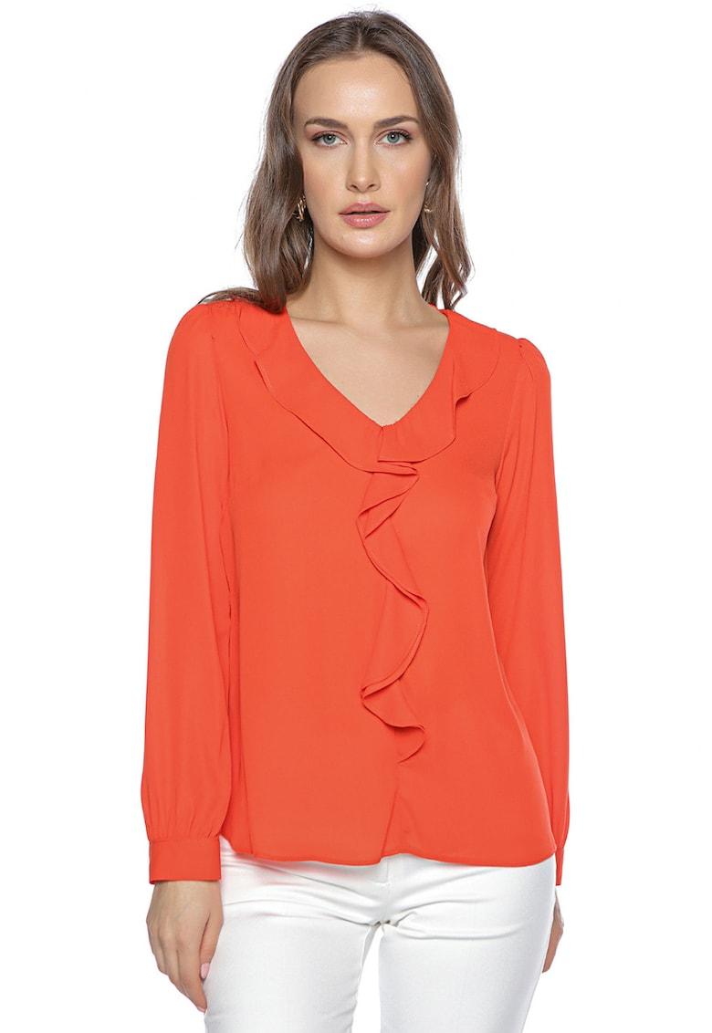 Bluza cu decolteu in V si volane imagine fashiondays.ro