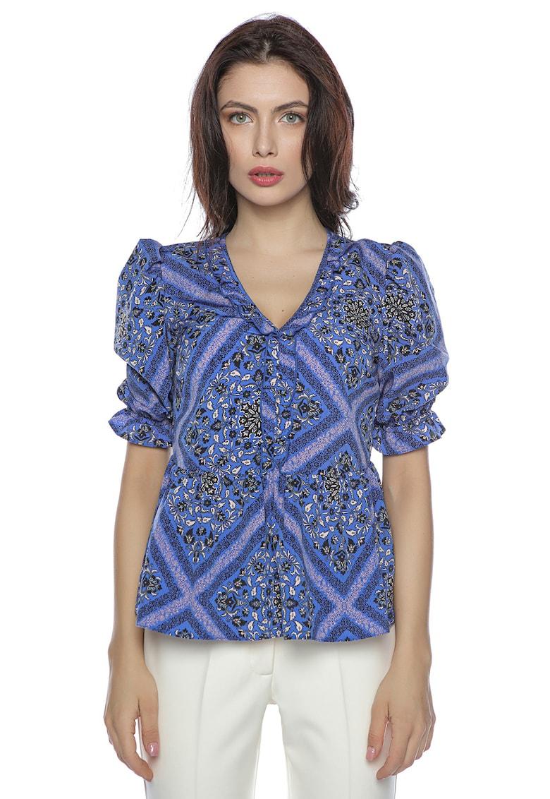 Bluza cu terminatie peplum si model geometric