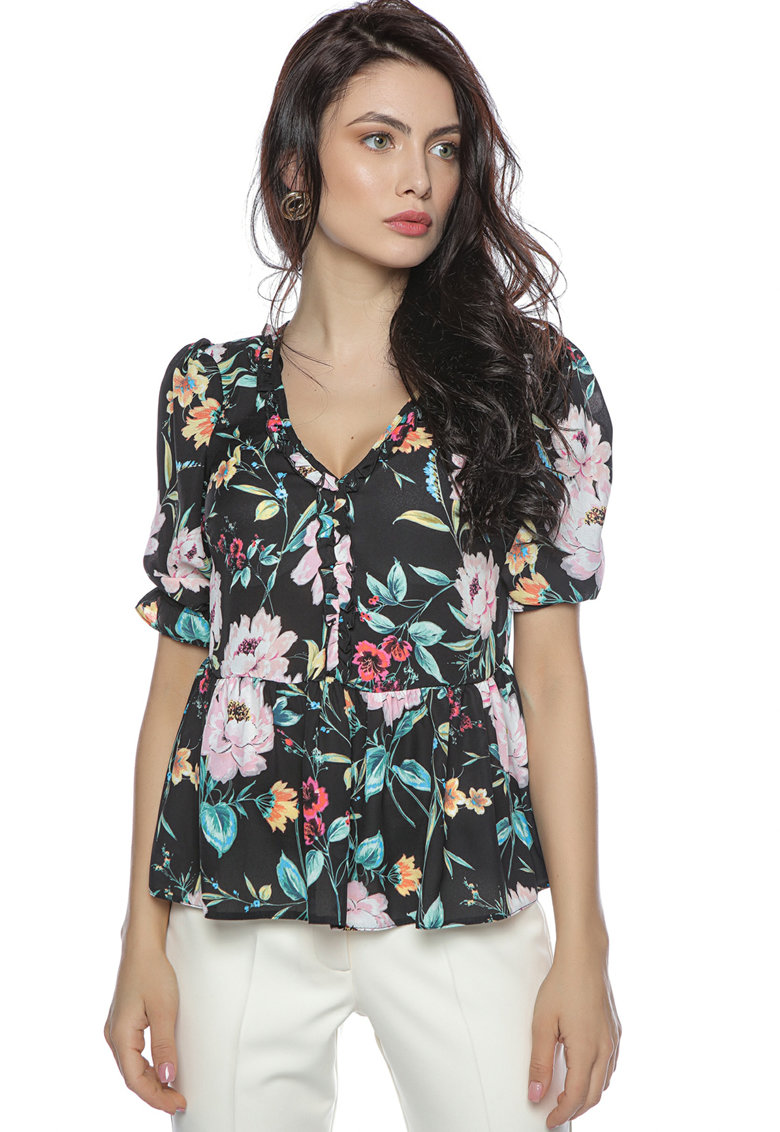 Bluza cu decolteu in V si model floral