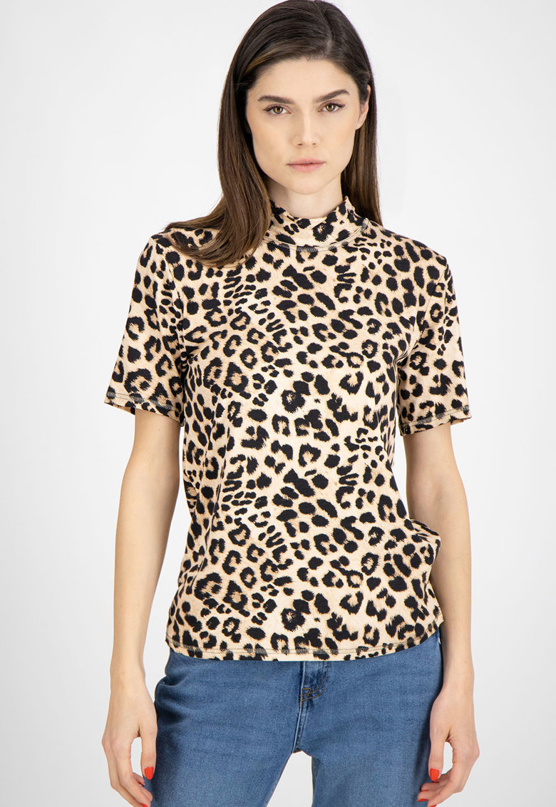 Bluza cu maneci scurte si animal print imagine