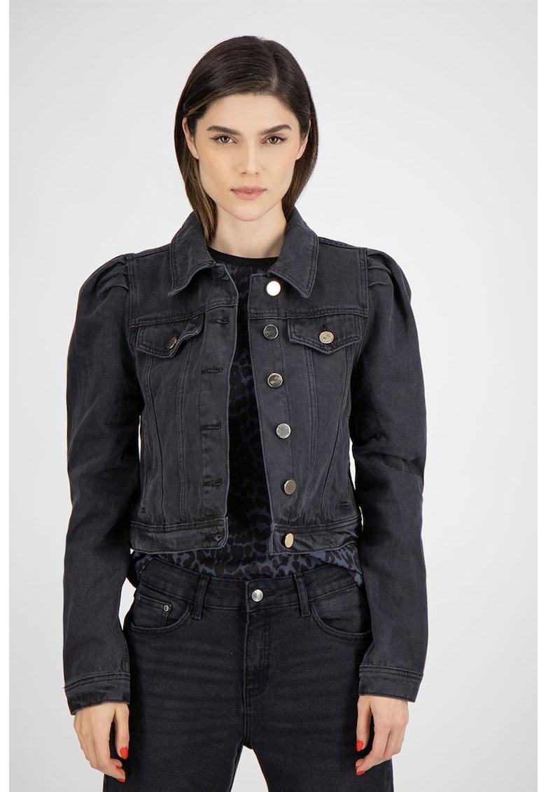 Jacheta slim fit din denim - cu maneci bufante