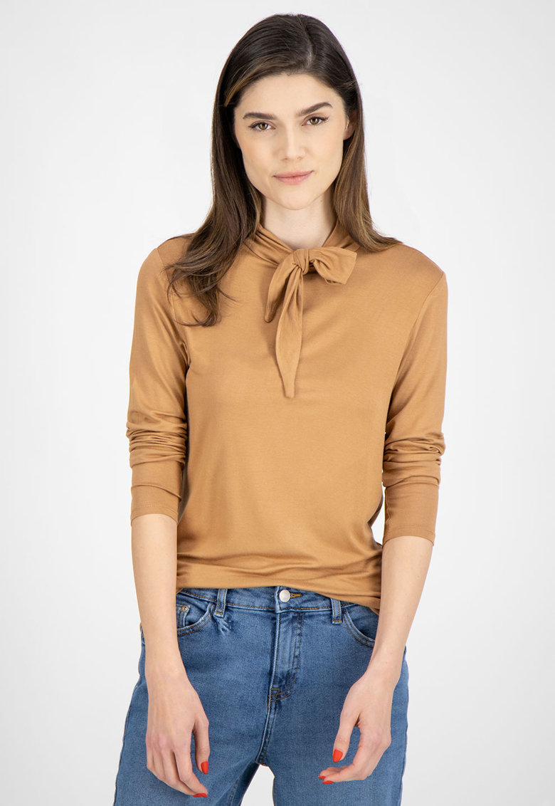 Bluza din jerseu cu funda din panglici