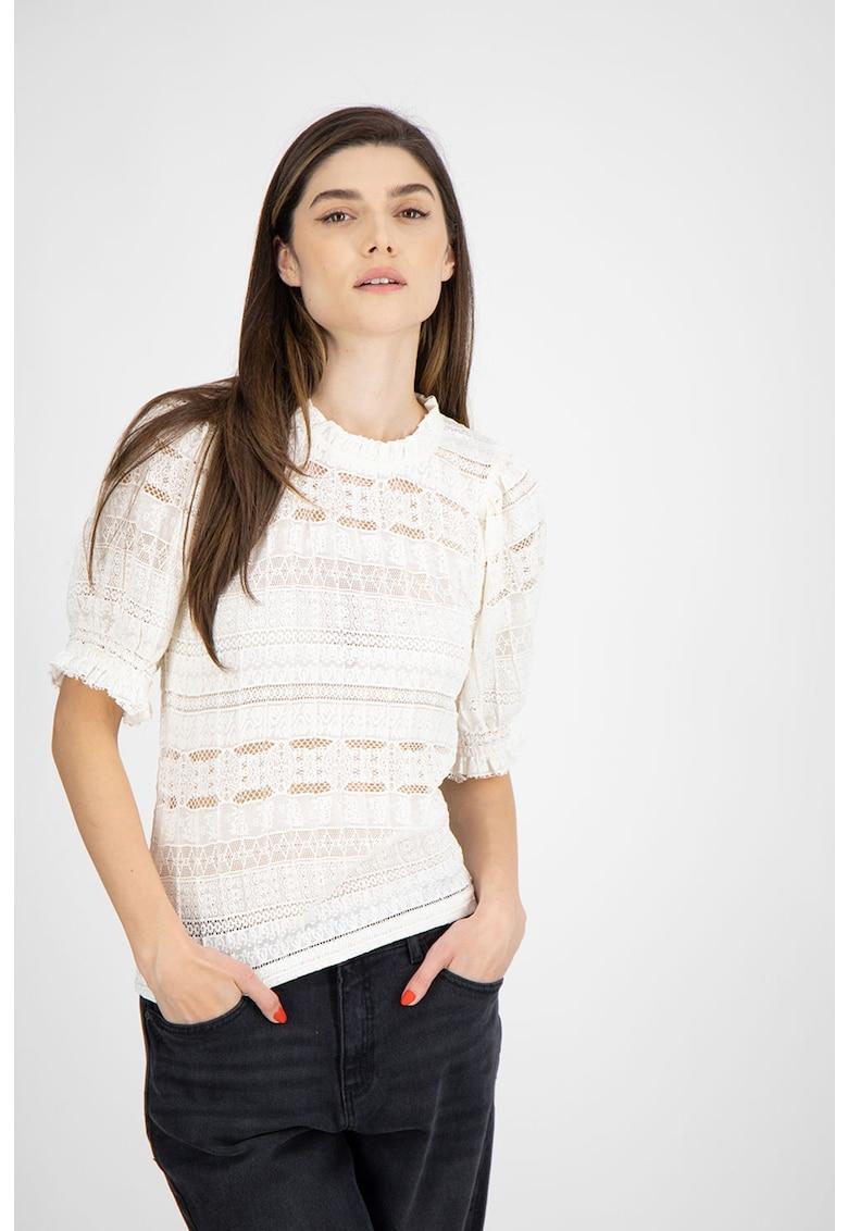 Bluza de dantela cu maneci medii imagine fashiondays.ro