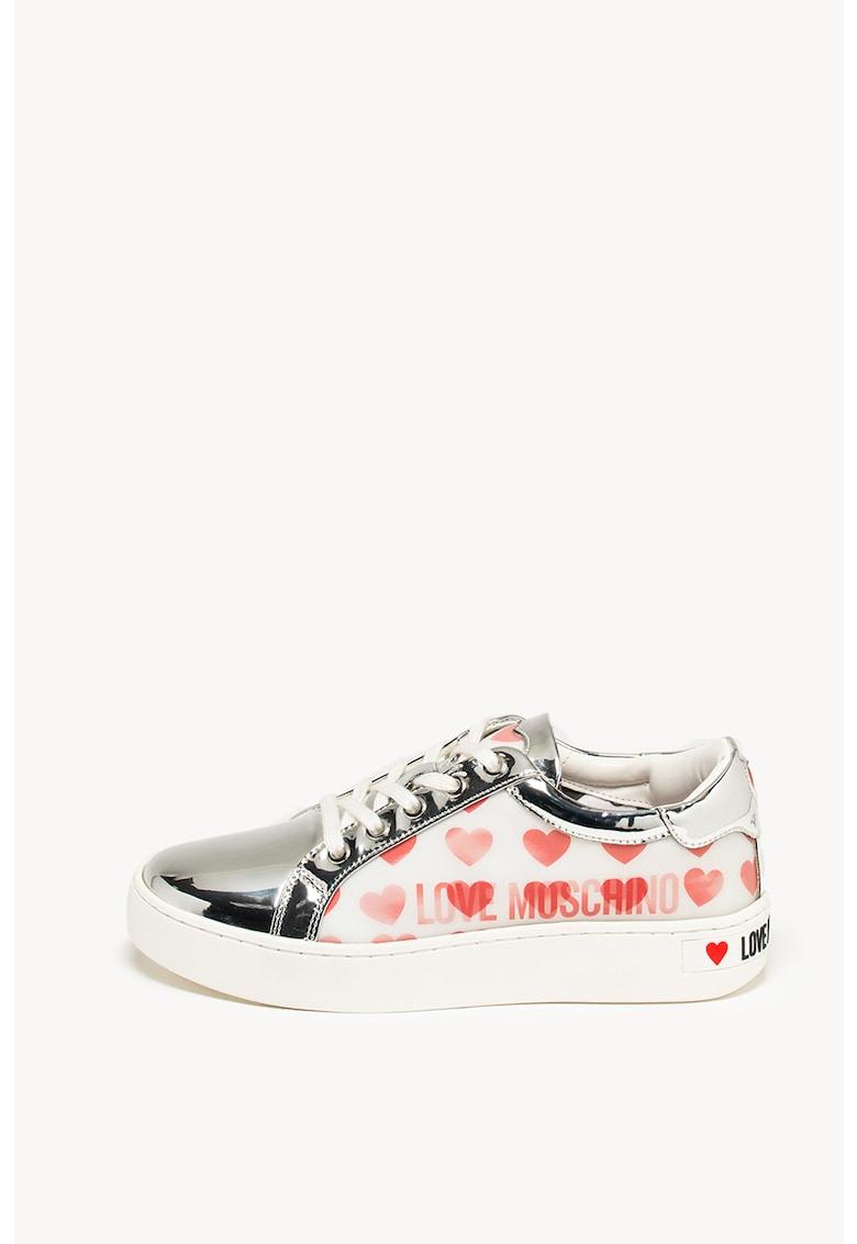 Pantofi sport din piele si piele ecologica cu garnituri cu aspect metalizat