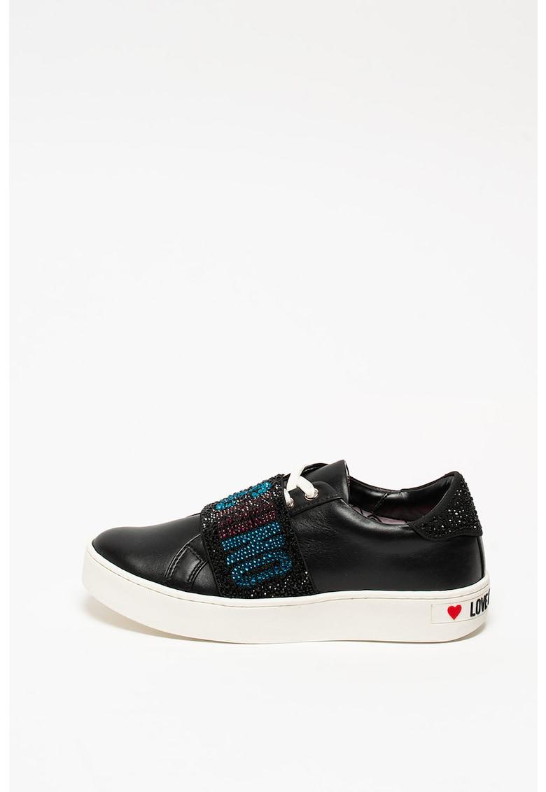 Pantofi sport din piele cu aplicatii cu strasuri imagine