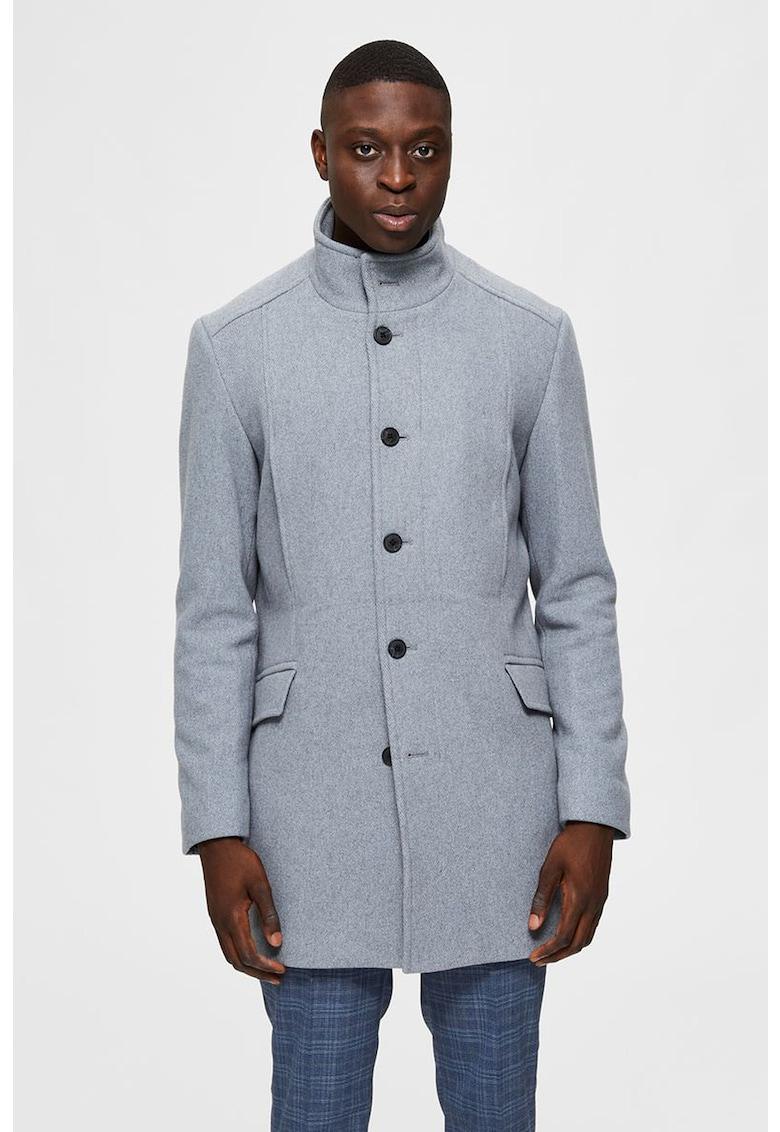 Palton din amestec de lana cu guler inalt imagine