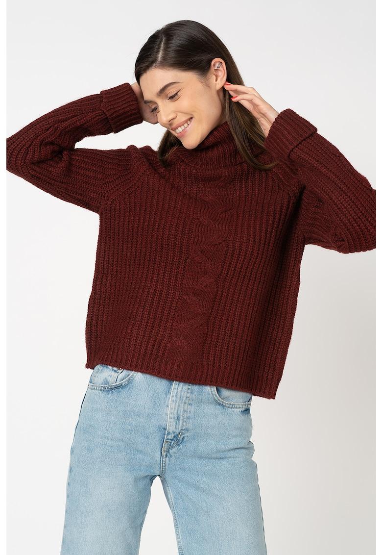 Pulover tricotat fin cu guler inalt Daisy de la Only