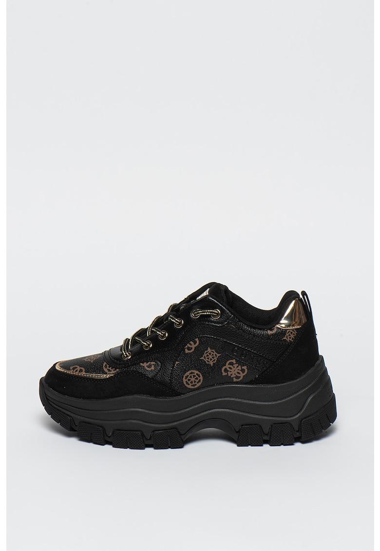 Pantofi sport de piele ecologica cu aspect masiv si model monograma