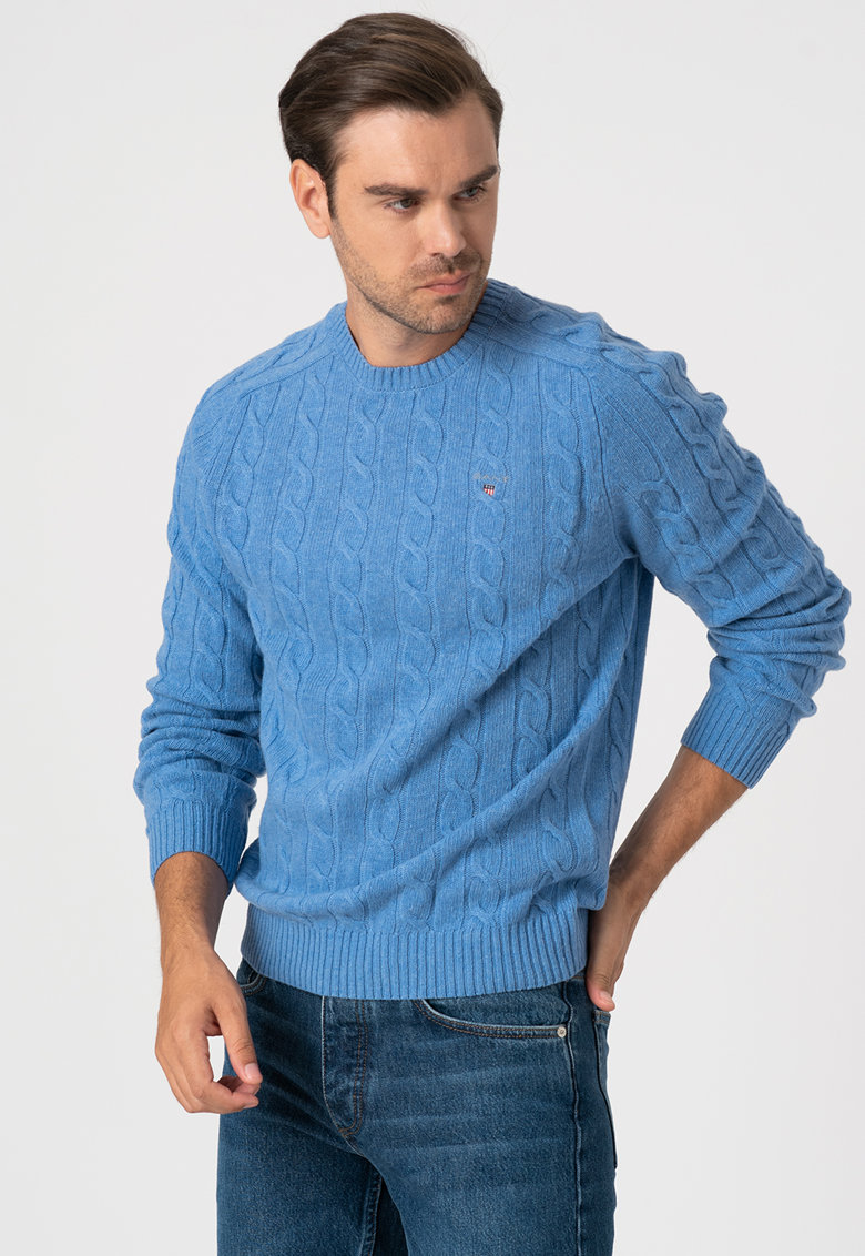 Pulover de lana cu model torsade