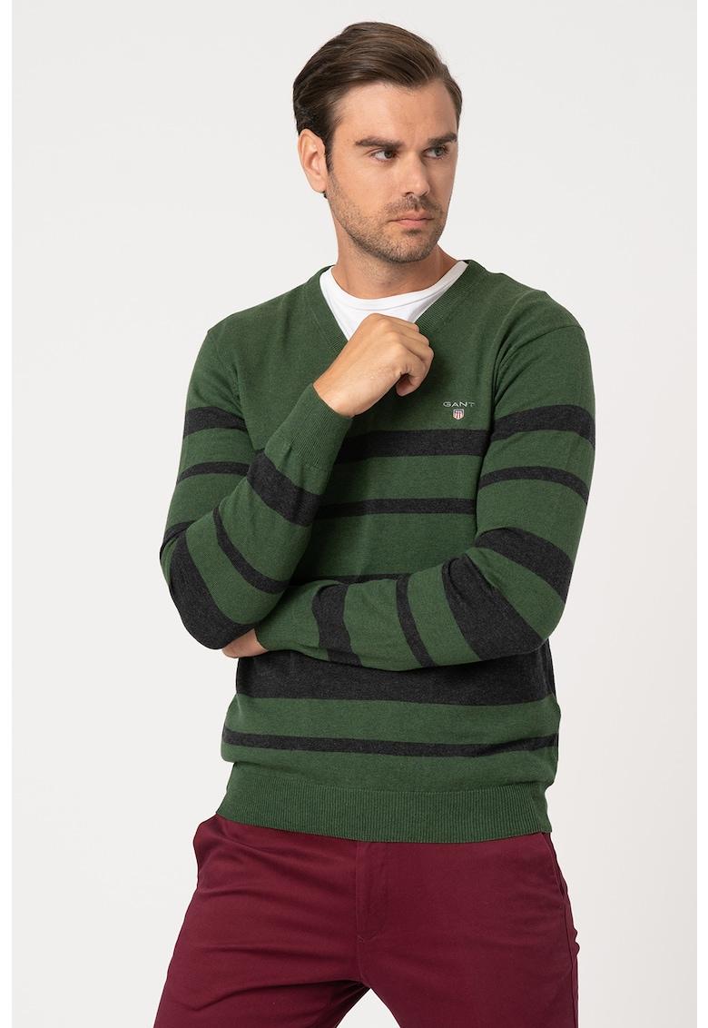 Pulover din amestec de lana - cu decolteu in V si dungi imagine promotie