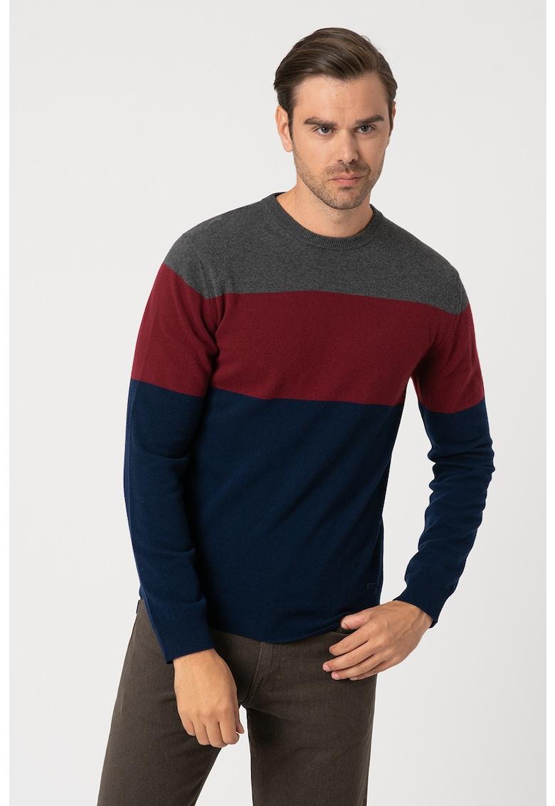 Pulover din amestec de lana si casmir - cu model colorblock