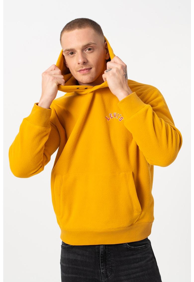 Hanorac din material fleece si logo discret imagine