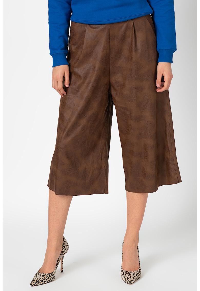 Antonia M Pantaloni culotte de piele ecologica - cu talie inalta