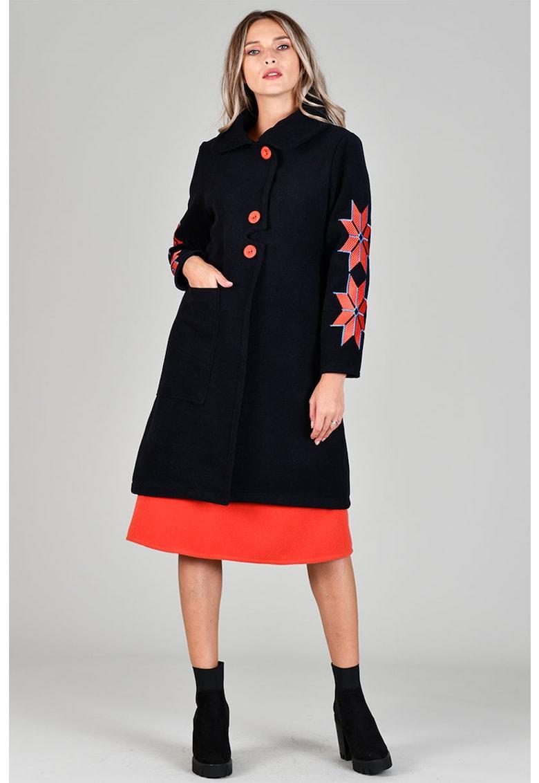 Palton din amestec de lana cu croiala in A si motive etnice Format Lady fashiondays.ro
