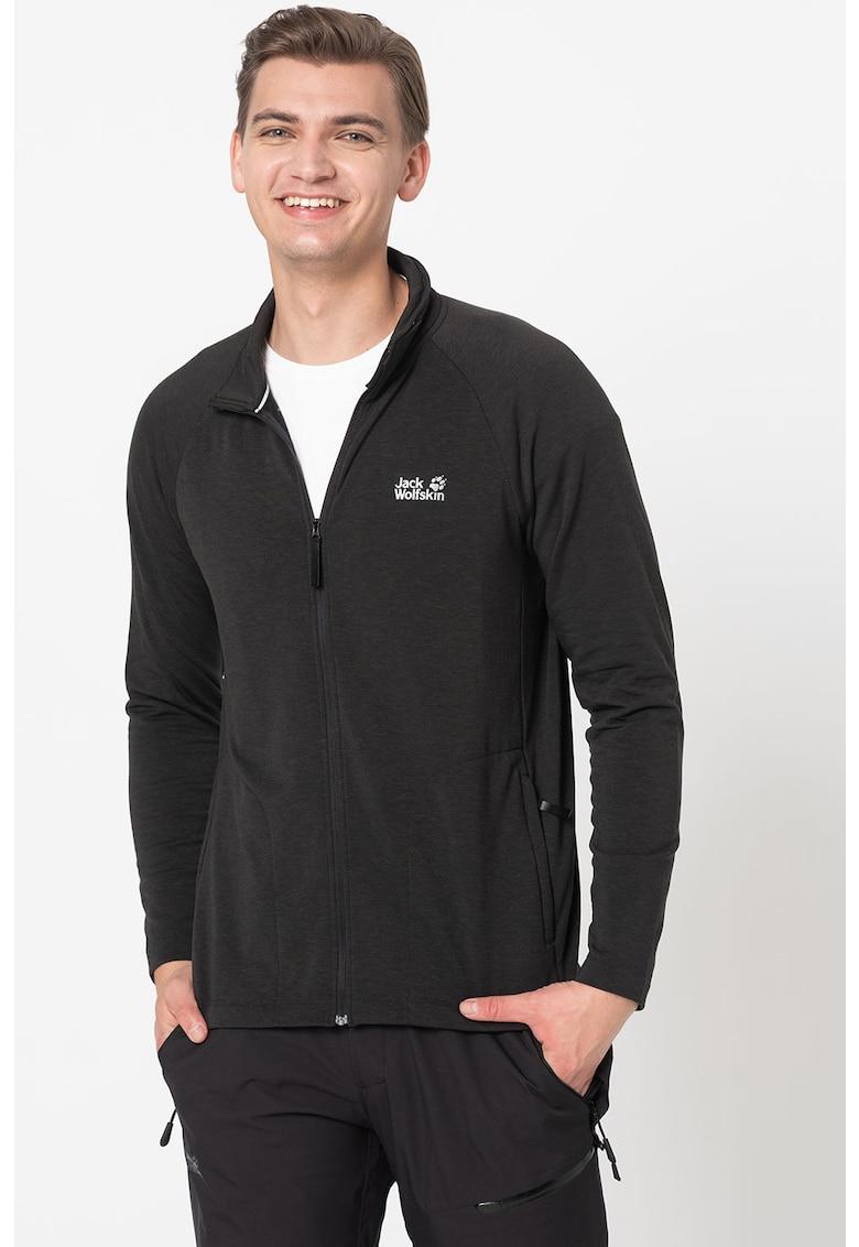 Bluza sport din material fleece cu fermoar si maneci raglan imagine