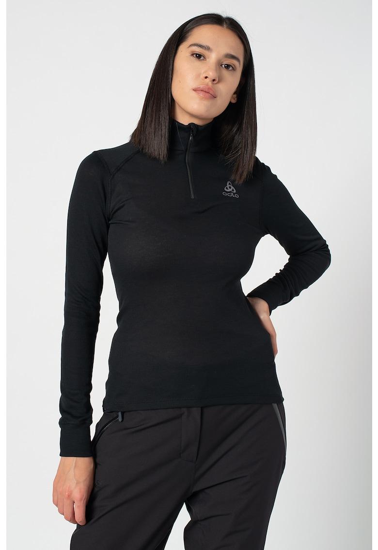 Bluza cu fermoar scurt si guler inalt pentru alergare