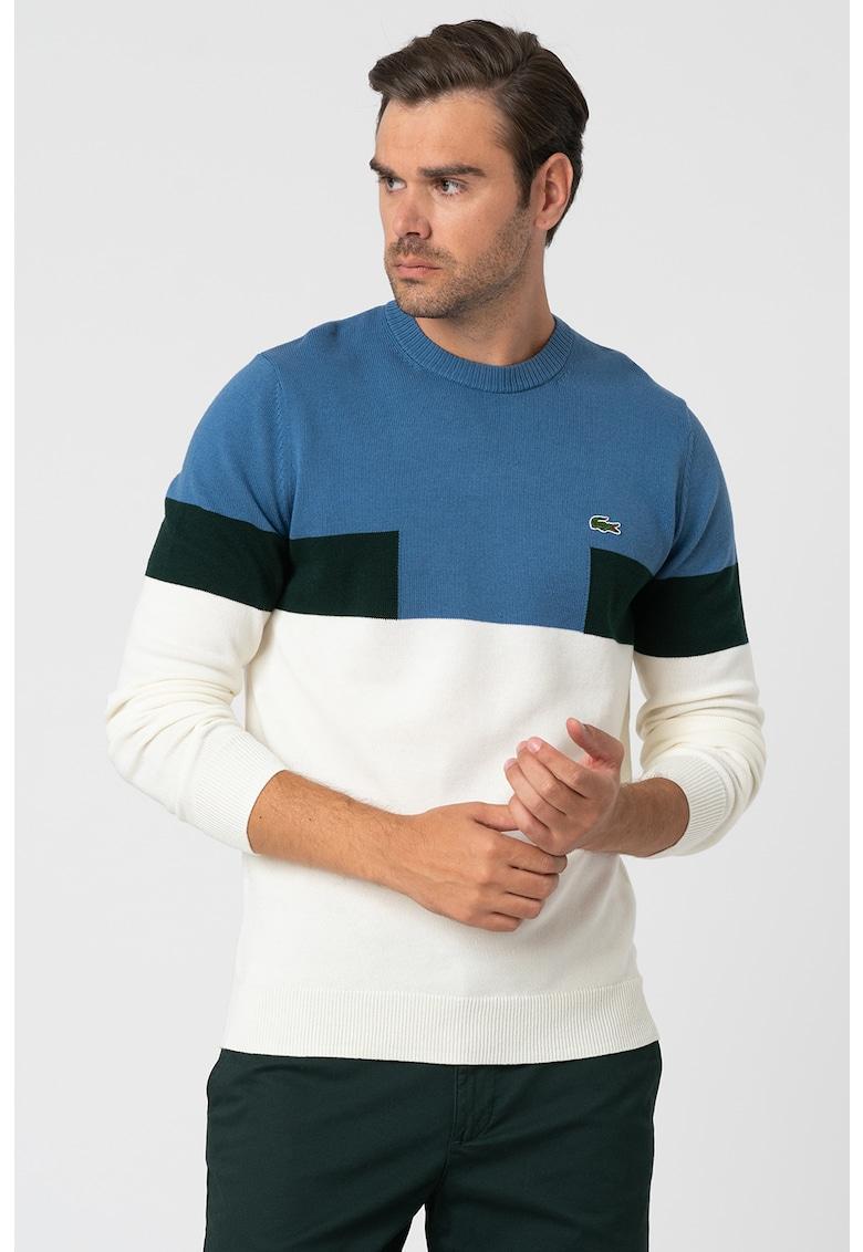 Pulover din amestec de lana cu aspect colorblock