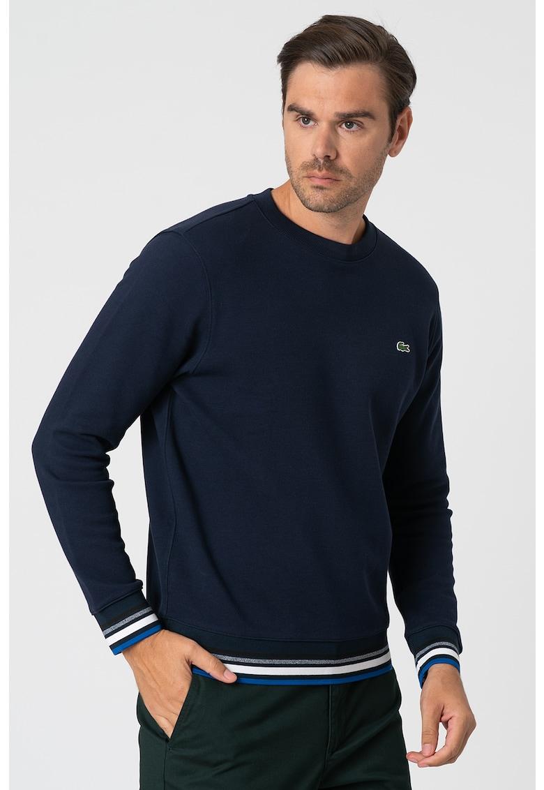 Bluza sport cu decolteu la baza gatului si mansete contrastante