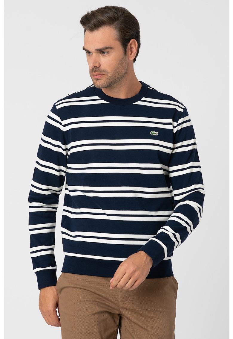 Bluza sport in dungi cu decolteu la baza gatului