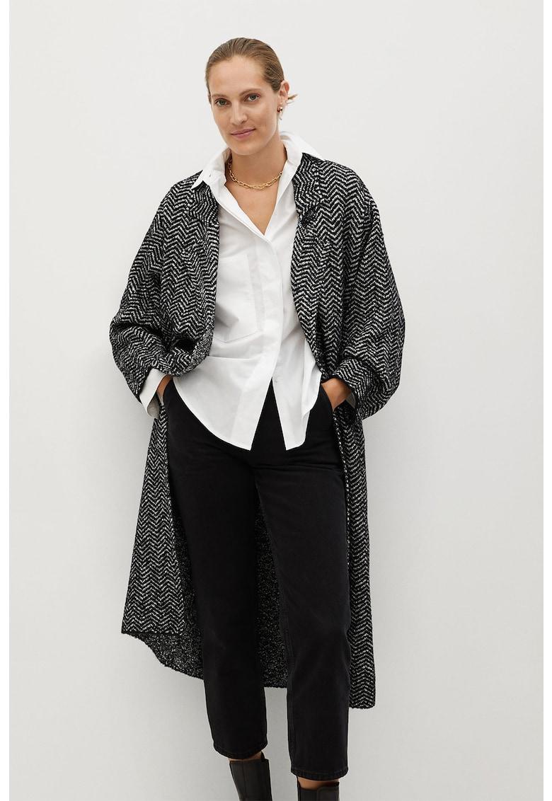 Palton cu doua randuri de nasturi si model herringbone Bone