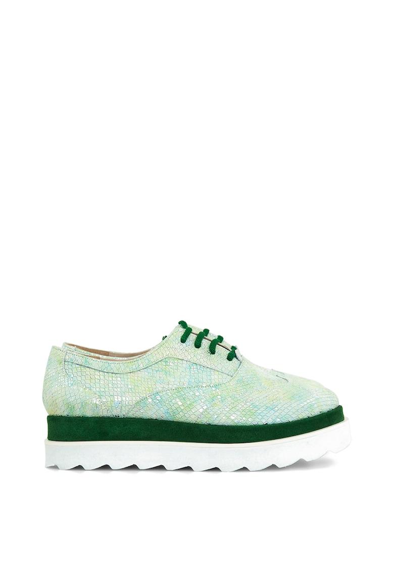 Pantofi flatform din piele cu insertii din piele intoarsa Olive