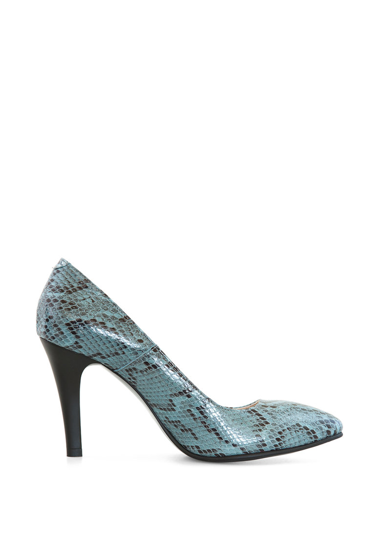 Pantofi din piele cu toc inalt si aspect de piele de sarpe