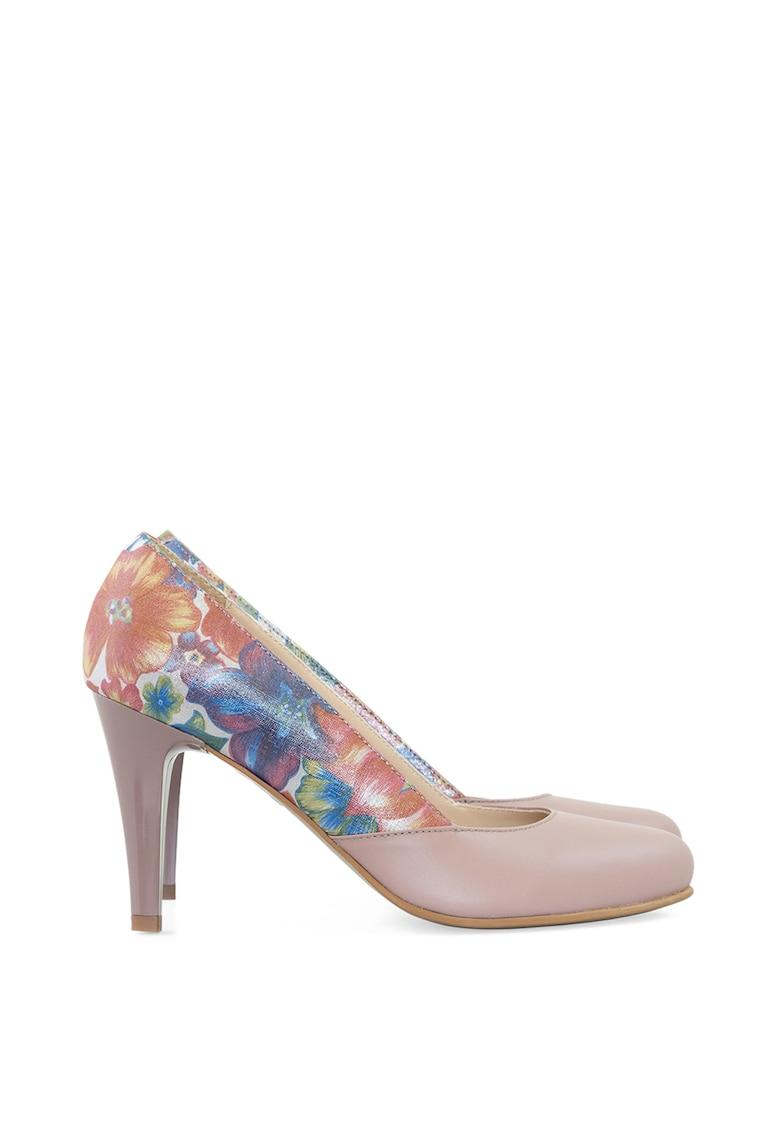 Pantofi din piele cu toc inalt si imprimeu floral