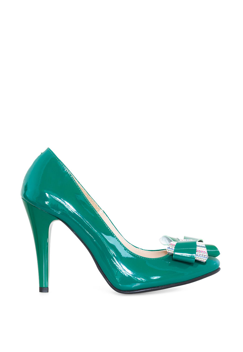 Pantofi din piele lacuita cu toc stiletto si funda Beatrice