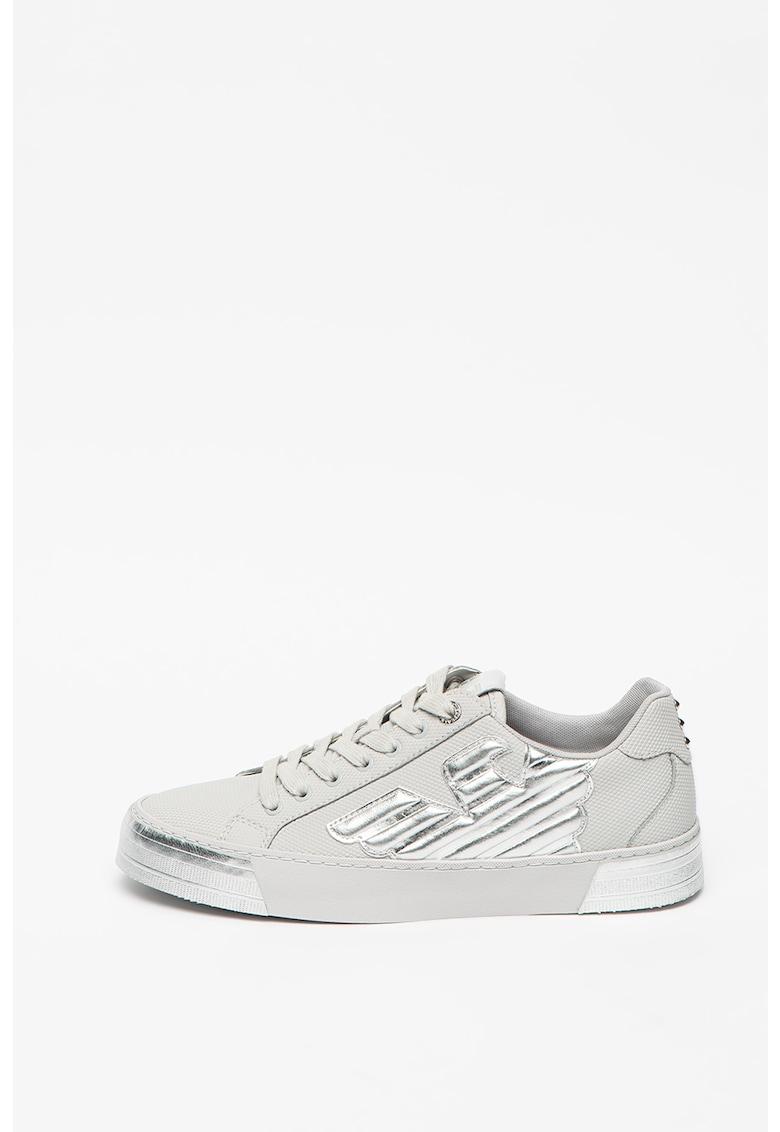Pantofi sport de piele ecologica si piele cu detalii metalizate