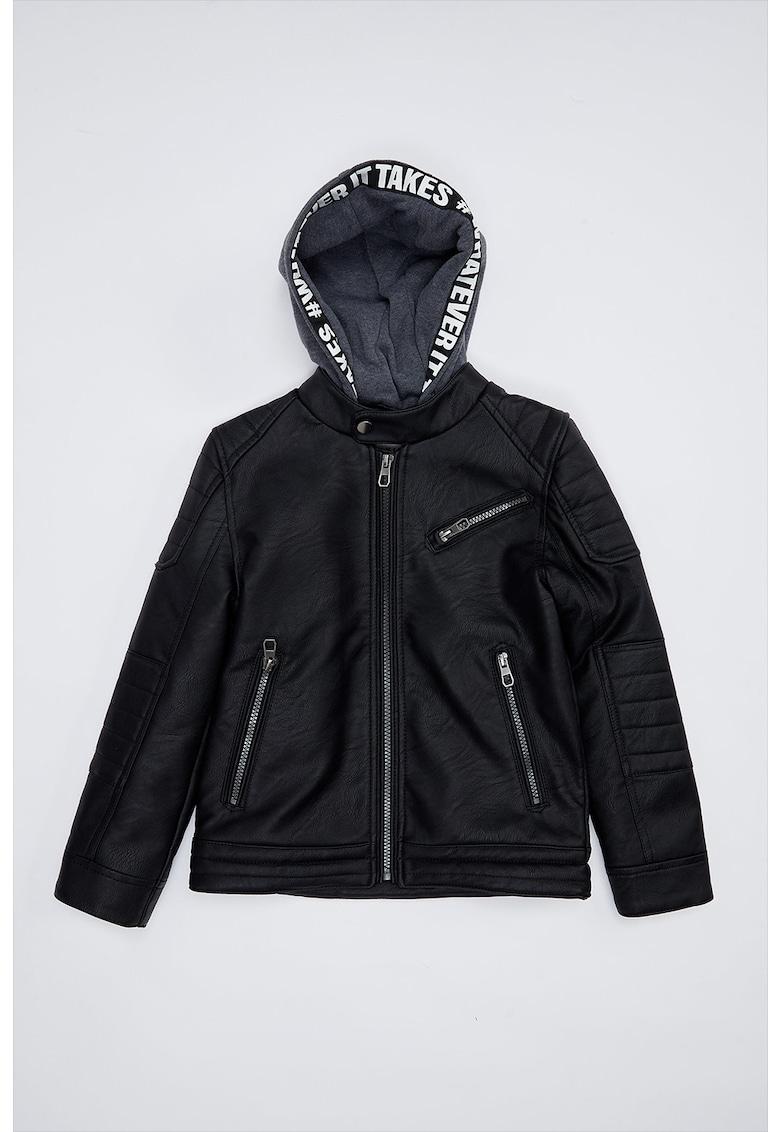 Jacheta biker din piele ecologica cu gluga din jerseu