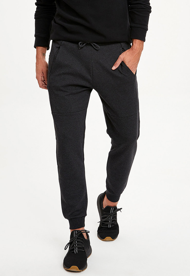 Pantaloni sport conici cu snururi in talie imagine