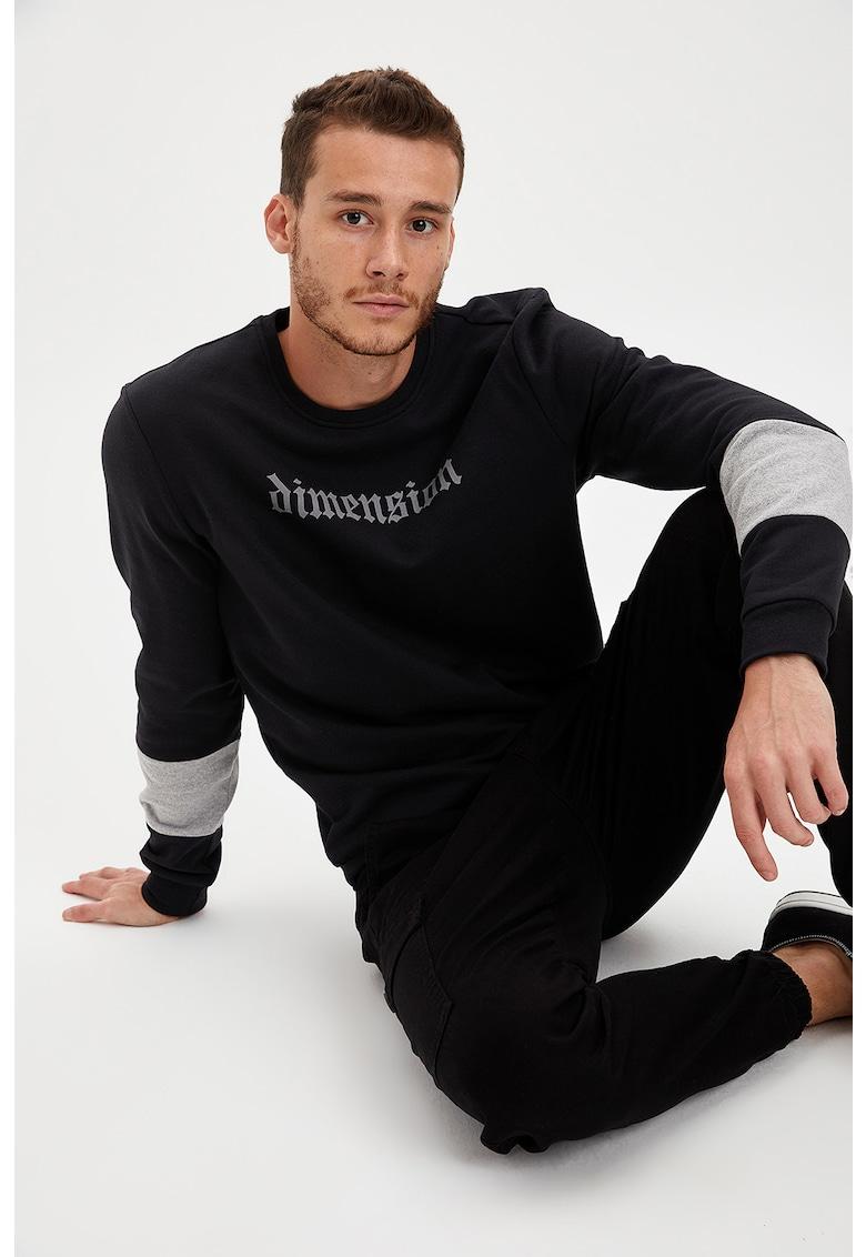 Bluza sport slim fit cu imprimeu text imagine