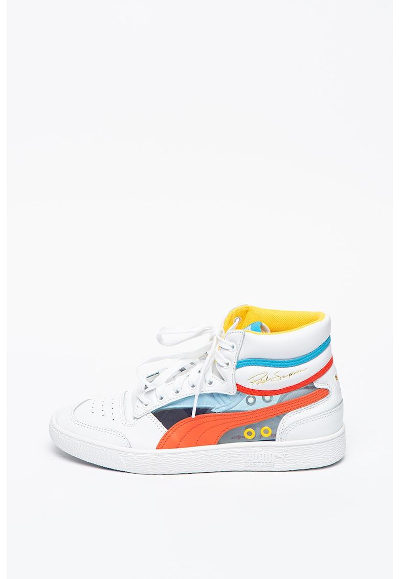 Pantofi sport high-top unisex de piele Ralph Sampson Mid Glass