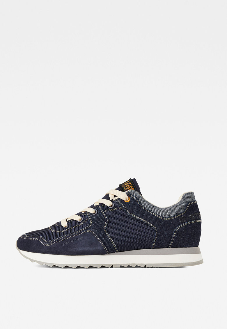 Pantofi sport din denim - cu insertii de piele intoarsa