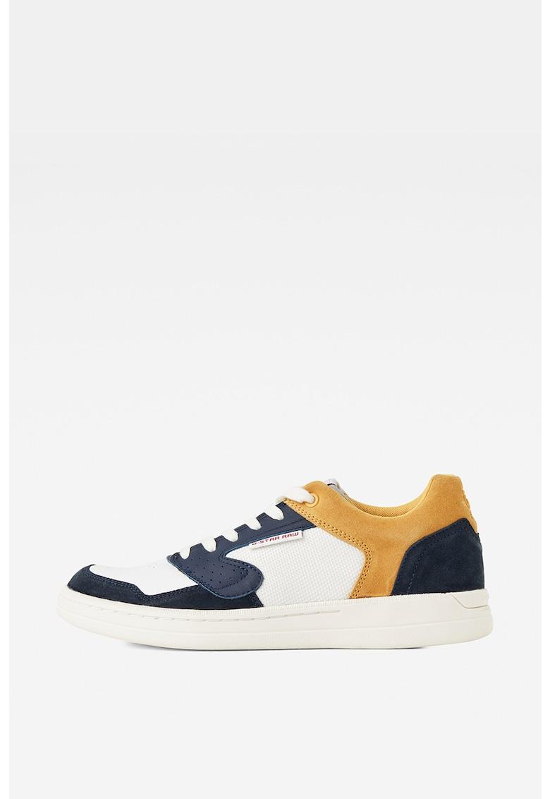 Pantofi sport cu insertii de piele si piele intoarsa
