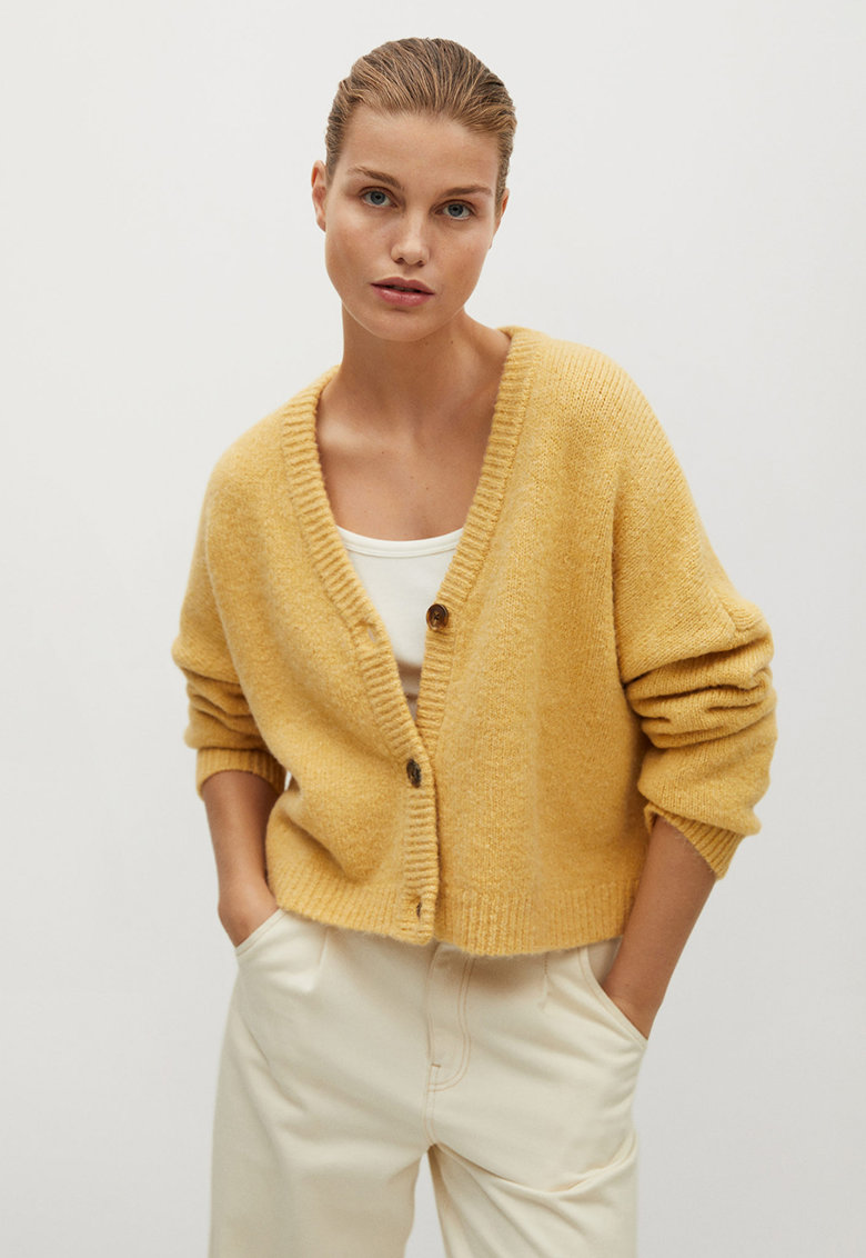 Cardigan tricotat fin cu maneci cazute Vinso Mango imagine 2021