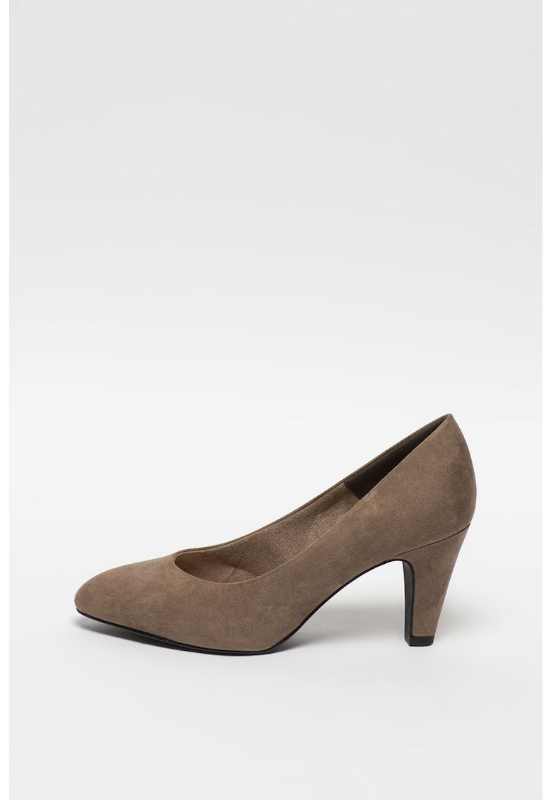Pantofi din piele intoarsa sintetica cu toc inalt imagine promotie
