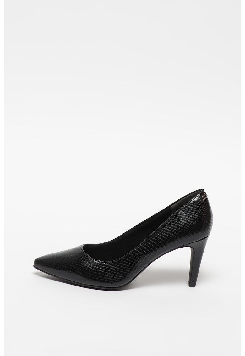 Pantofi din piele cu toc inalt si aspect de piele de reptila