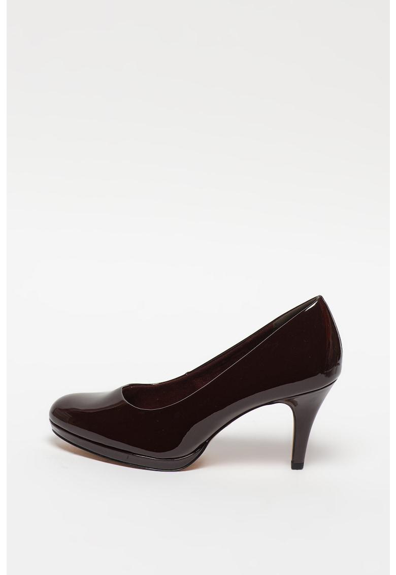 Pantofi din piele ecologica cu toc inalt si aspect lacuit