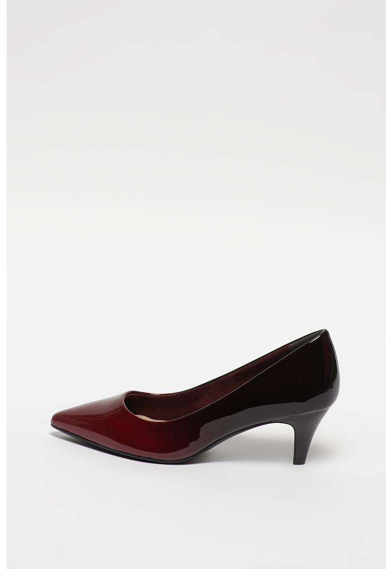 Pantofi din piele ecologica cu toc inalt si aspect lacuit imagine