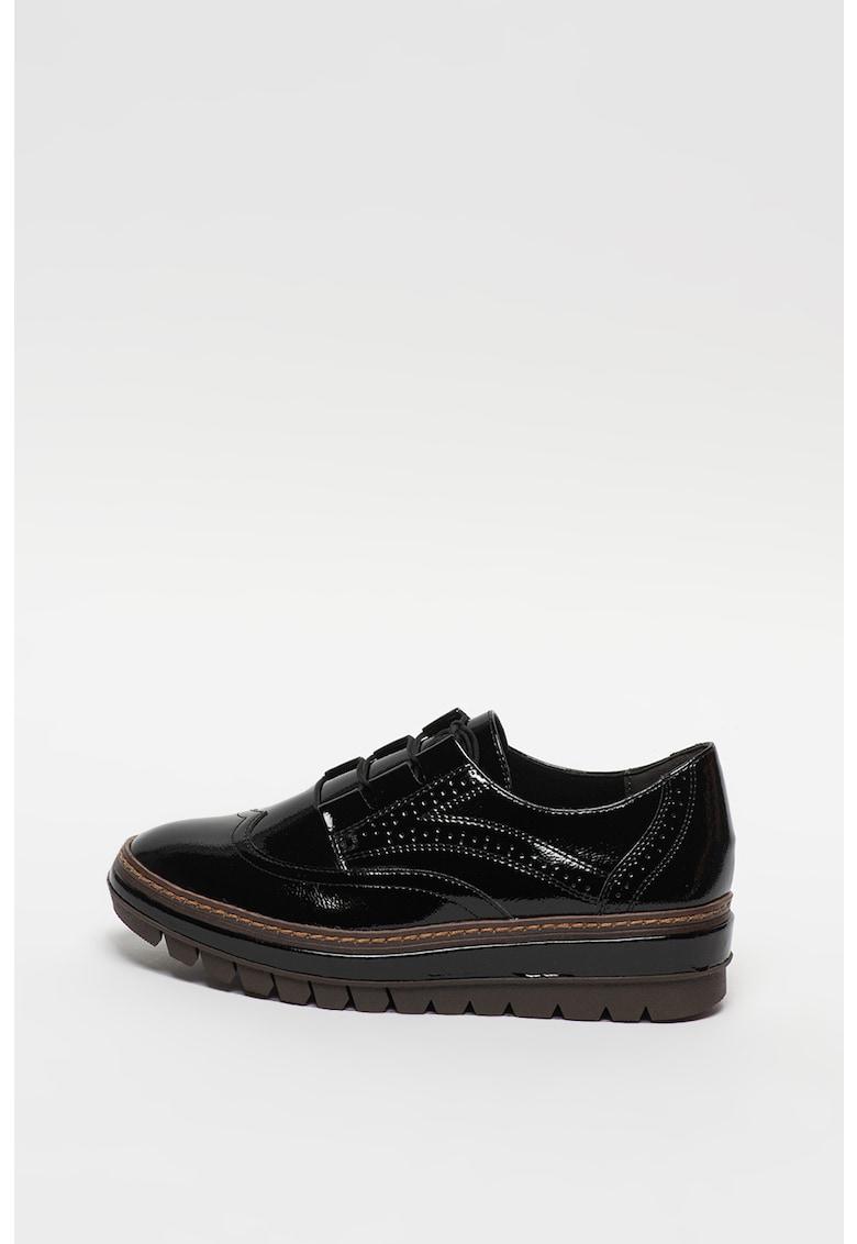 Pantofi din piele ecologica lacuita cu talpa wedge si model brogue
