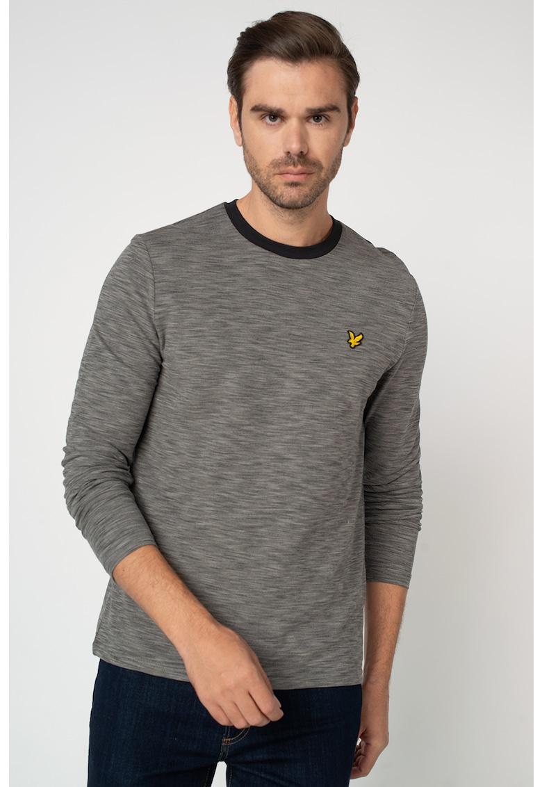 Bluza din material pique cu decolteu la baza gatului si model tie dye Space