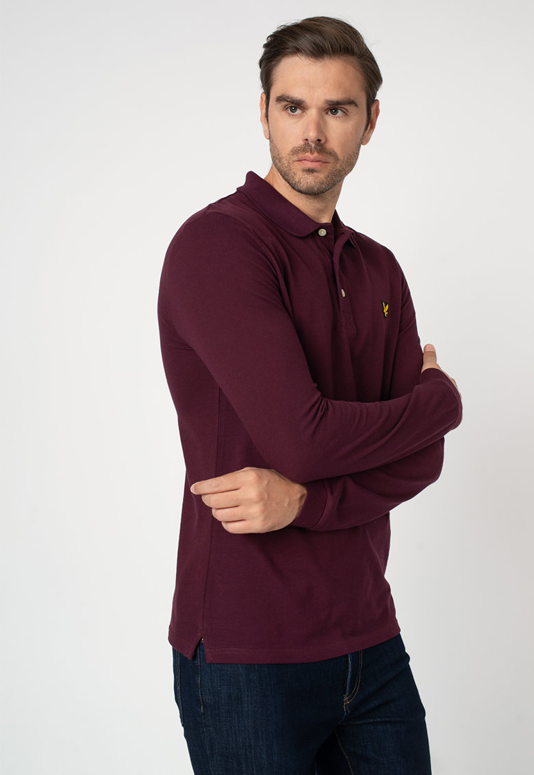 Bluza polo din material pique cu logo brodat discret