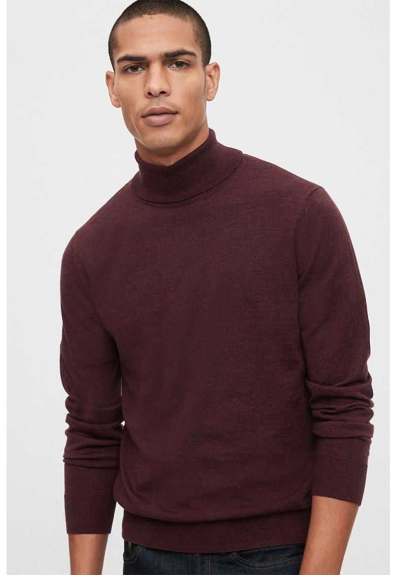 Pulover din lana Merinos cu guler inalt