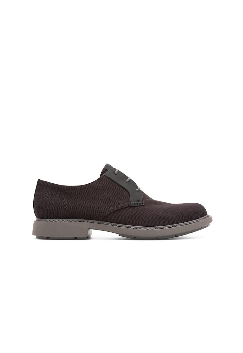 Pantofi deby cu model texturat si garnituri de piele imagine
