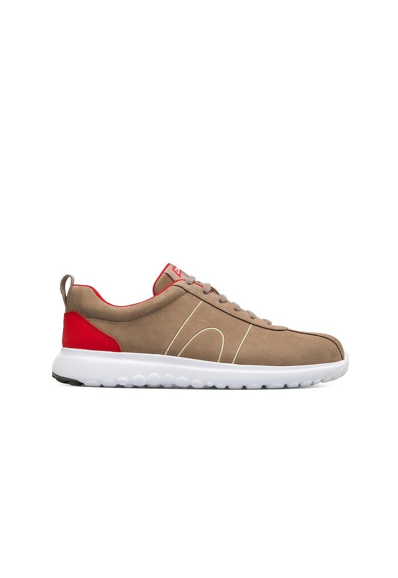 Pantofi sport de piele cu cusaturi decorative